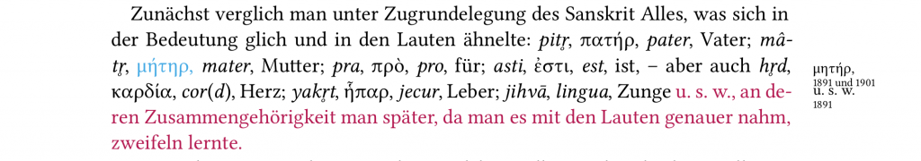 "Margin notes and coloured text in the critical edition of Gabelentz's ""Die Sprachwissenschaft"""