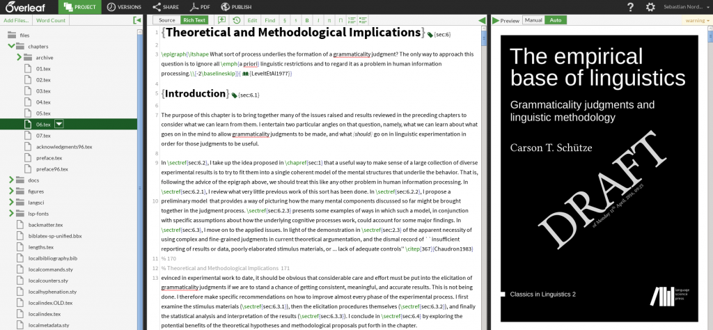 "Using Overleaf for ""The empirical base of linguistics"""